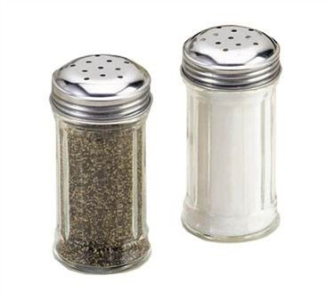 TableCraft 657 Fluted Glass 2 oz. Salt and Pepper Shaker with Stainless Steel Top