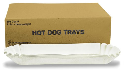 Fluted Hot Dog Trays, 6w x 2d x 2h, White
