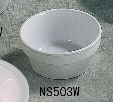 Thunder Group NS503W Nustone White Melamine Fluted Ramekin 4 oz., 3-1/4""
