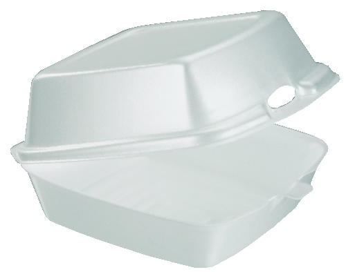 Foam Carryout Hinged Container, 5-9/10 x 6 x 3, White, 125/Bag