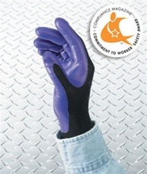 Foam-Coated Nitrile Gloves, Heavy-Duty, Size 8, Purple/Black, Dozen/Pack