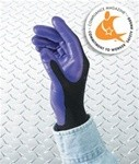 Foam-Coated Nitrile Gloves, Heavy-Duty Size 9, Purple/Black, Dozen/Pack