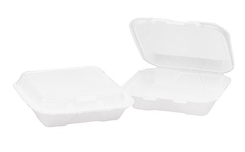 Foam Hinged Carryout Container, 1-Compartment, White, 9-1/4 x 9-1/4 x 3