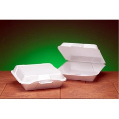 Foam Hinged Container, 1-Compartment, Jumbo, 10-1/3x9-1/3x3, White, 100/Bag