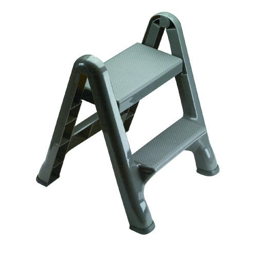Foldable 2-Step Stool, 300 lb, Max Gray