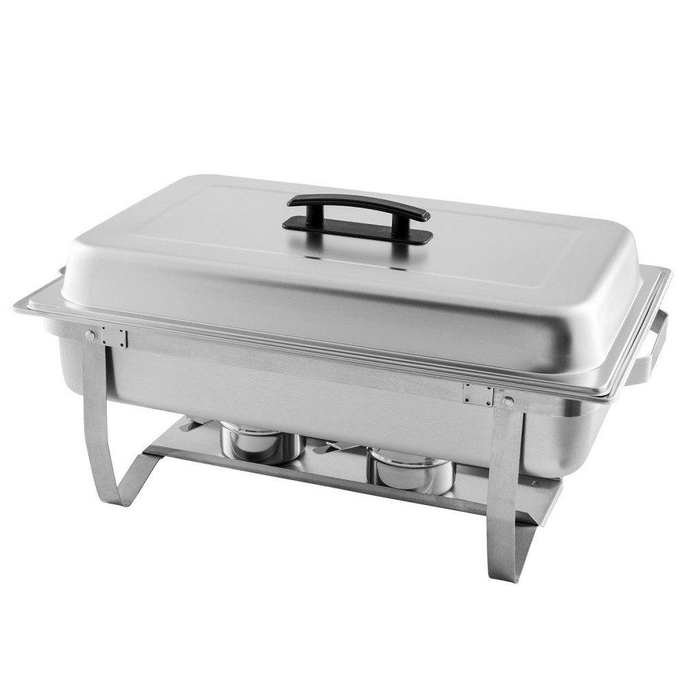 TigerChef Full Size Stainless Steel Chafing Dish with Folding Frame 8 Qt.