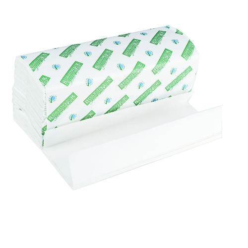 Folded Paper Towels, C-Fold, White, 10 1/8 x 13, Green Plus Seal
