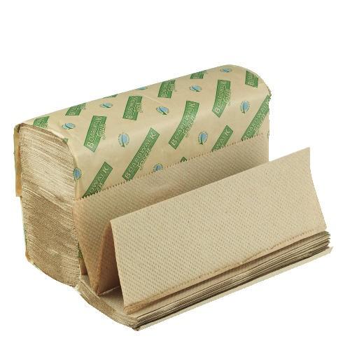 Folded Paper Towels, Multi-Fold, Natural, 9 1/8W x 9 1/2L, Green Seal