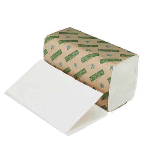Folded Paper Towels, Single-Fold, Natural White, 9W x 10L, Green Seal
