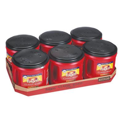 Folgers Coffee, Classic Roast, Ground, 30.5 oz. Canister, 6/Carton