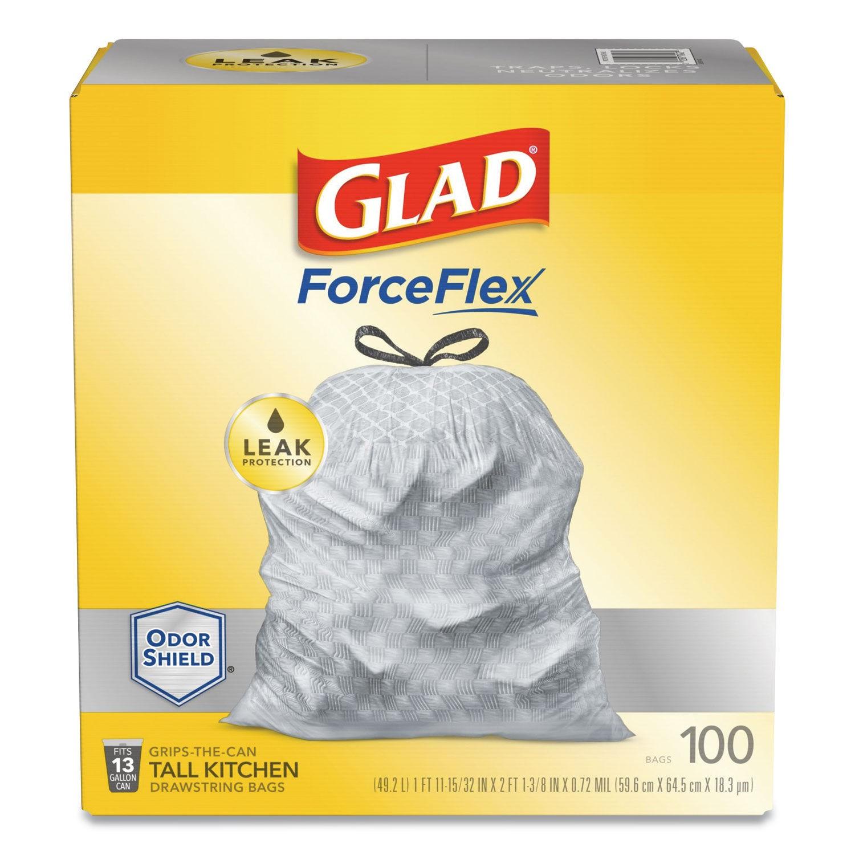 Glad Forceflex Drum Kitchen Bag 13 Gl, .95 Mil, White