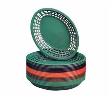 "TableCraft 1084FG Forest Green Jumbo Oval Plastic Basket, 11-3/4"" x 8-7/8"" x 1-7/8"""