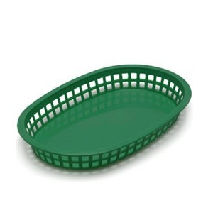 Forest Green Oval Plastic Chicago Platter Basket - 10-1/2