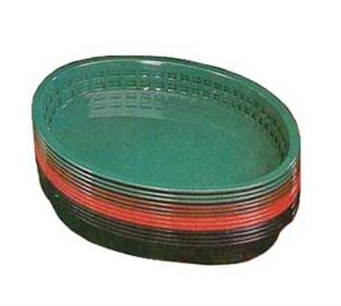 "TableCraft 1086FG Forest Green Oval Plastic Texas Platter Basket 12-3/4"" x 9-1/2"" x 1-1/2"""