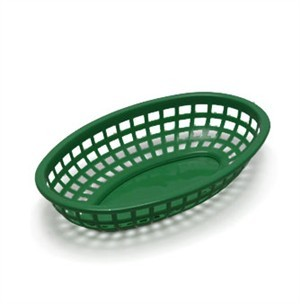 "TableCraft 1074FG Forest Green Classic Plastic Oval Basket 9-3/8"" x 6"" x 1-7/8"""