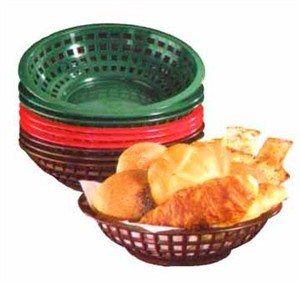 "TableCraft 1075FG Forest Green Round Plastic Serving Basket 8"" x 2-3/8"""