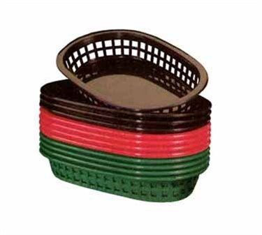 "TableCraft 1073FG Forest Green Plastic Platter Basket 8-1/2"" x 6"" x 1-1/2"""
