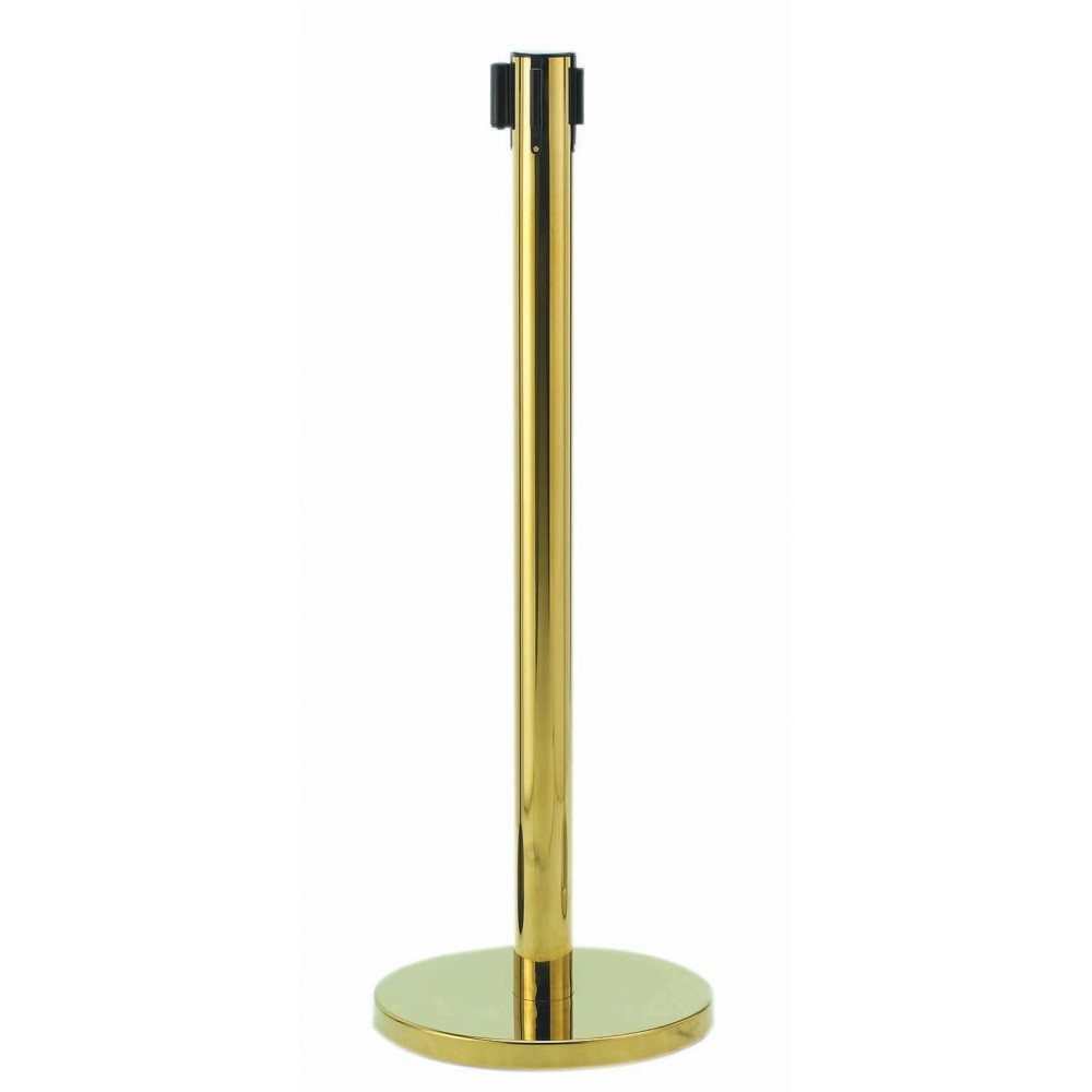 Form-A-Line Retractable Belt Stanchion- Brass (Belt Included)