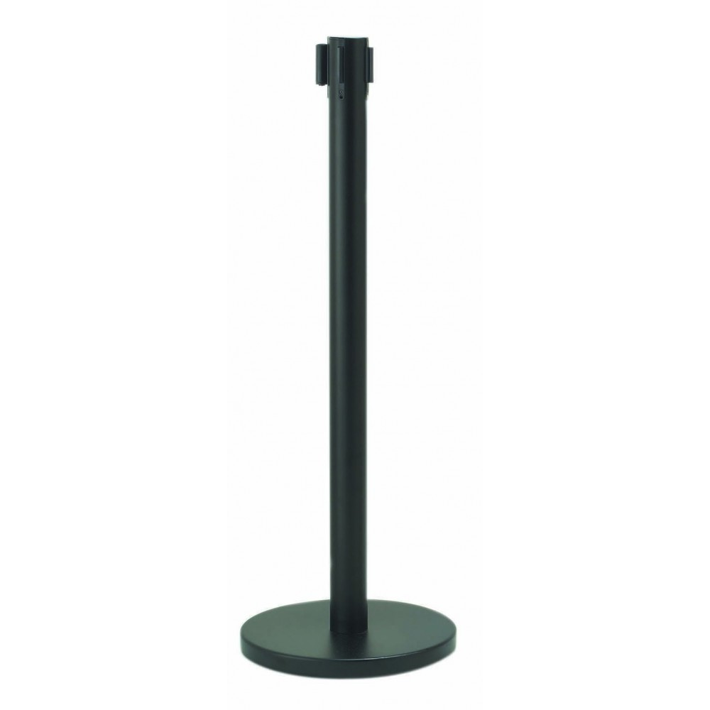 Form-A-Line Retractable Belt Stanchion-Black (Belt Included)