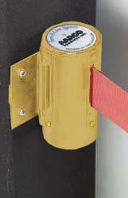 Form-A-Line System Wall Mounted Retractable Belt, Brass