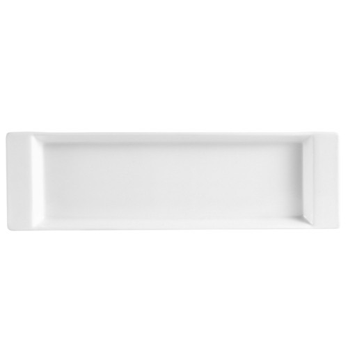 "CAC China F-3S Fortune Rectangular China Tasting Tray White 12"" x 3 1/2"""