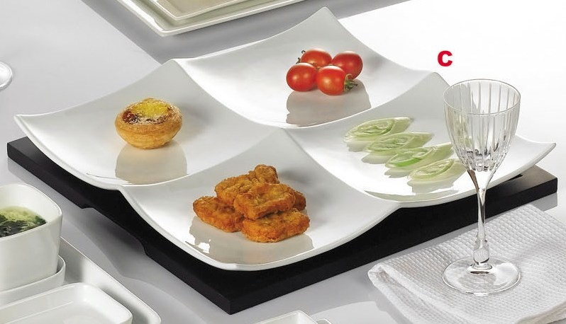 CAC China F-P14/14W Fortune Divided Plate with Wood Tray F-P14