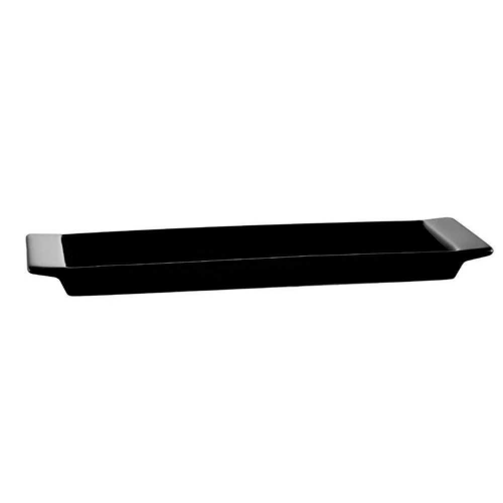 "CAC China F-3S-BLK Fortune Rectangular China Tasting Tray Black 12"" x 3 1/2"""