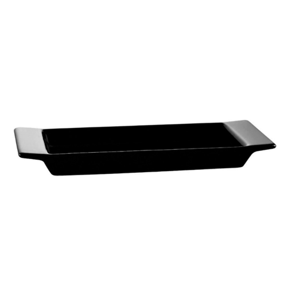 "CAC China F-2S-BLK Fortune Rectangular China Tasting Tray Black 8 3/4"" x 3 1/2"""