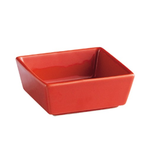 CAC China F-BW4-R Fortune Square Red China 5 oz. Tasting Bowl