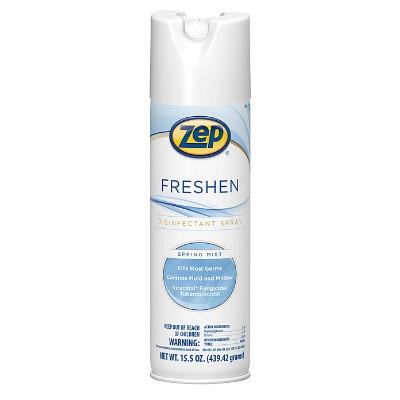 Zep Freshen Disinfectant, Spring Mist, 15.5 oz Aerosol Can, 12/Carton