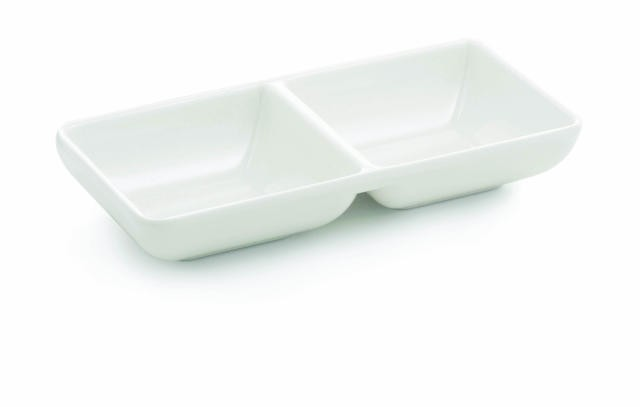 TableCraft MB63 Frostone Rectangular Divided Melamine Sauce Bowl 4 oz.
