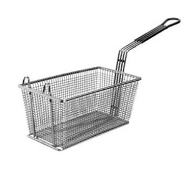 """Franklin Machine Products  225-1026 Fry Basket with 2 Front Hooks/Teal Handle 12-7/8"""" x 6-1/2"""""""