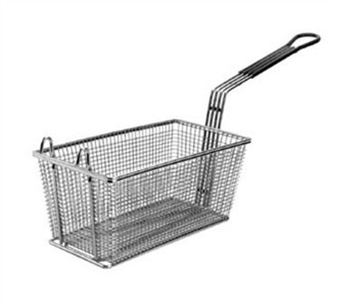 Fry Basket With 2 Front Hooks/Teal Handle - 13-1/4