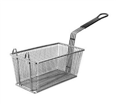 "Franklin Machine Products  225-1061 Fry Basket with Front Hook/Teal Handle 13-1/4"" x 6-1/2"""