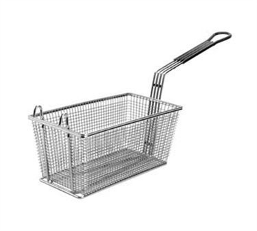 "Franklin Machine Products  225-1072 Fry Basket with Front Hook/Teal Handle 17-1/8"" x 8-3/8"""