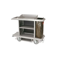 Full-Size Housekeeping Cart, 1-Shelf, 22w x 60d x 50h, Platinum