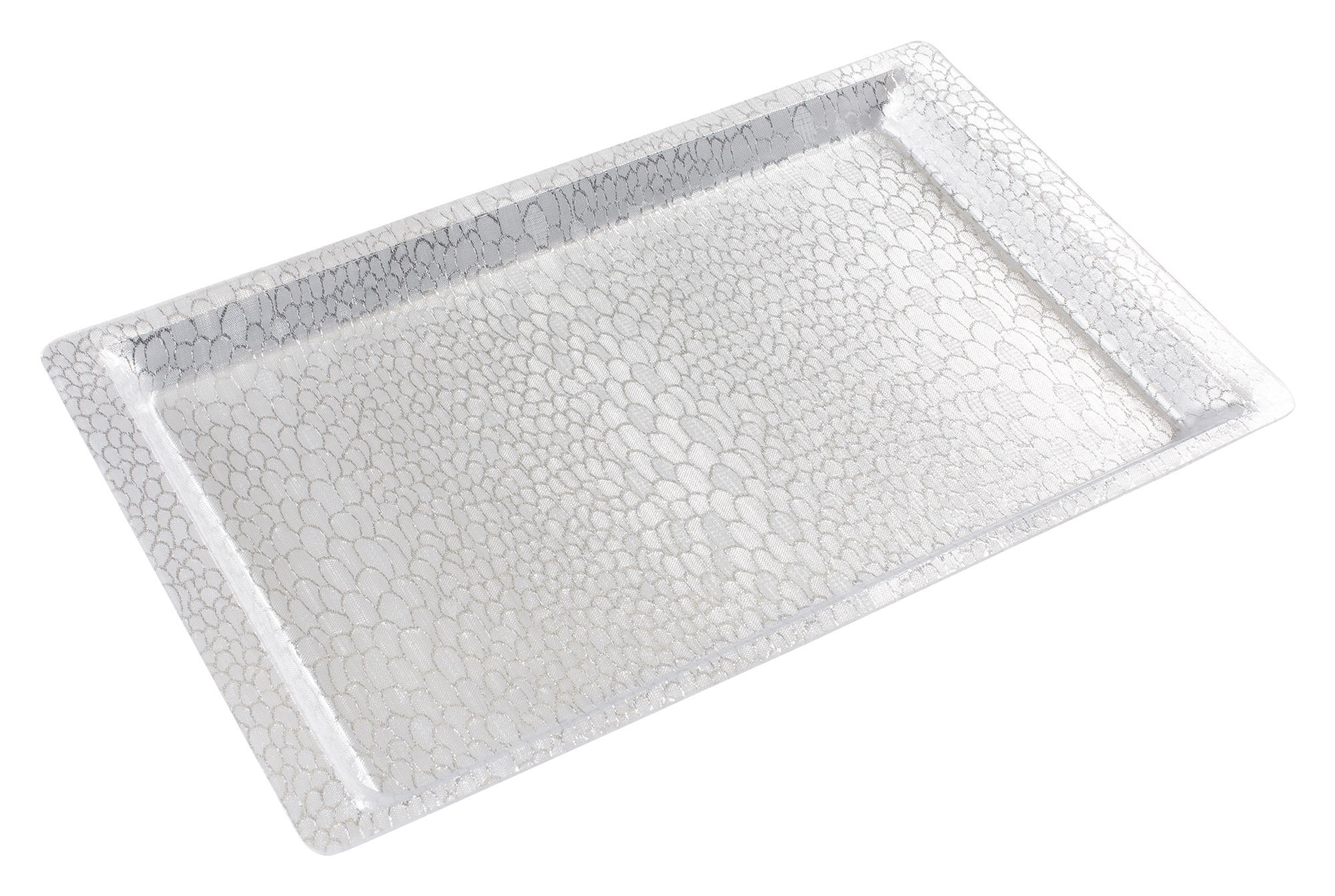 Full Size Silver Textured Acrylic Display Tray - 20-3/4 X 12-3/4