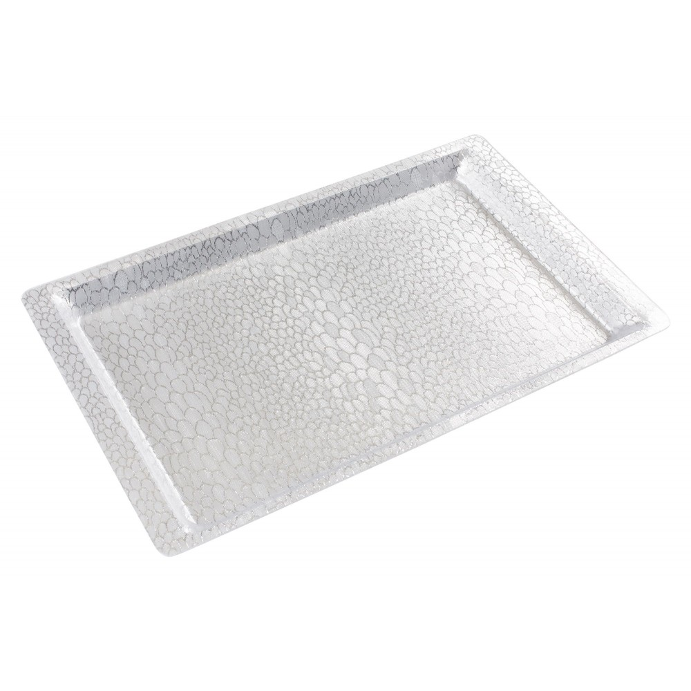 "Winco AST-1S Silver Textured Acrylic Display Tray 20-3/4"" x 12-3/4"""