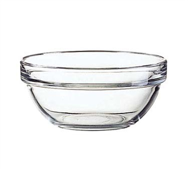 Fully Tempered 12 Oz. Stacking Glass Bowl - 4-3/4