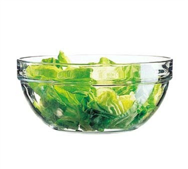 Fully Tempered 144 Oz. Stacking Glass Bowl - 10-1/4