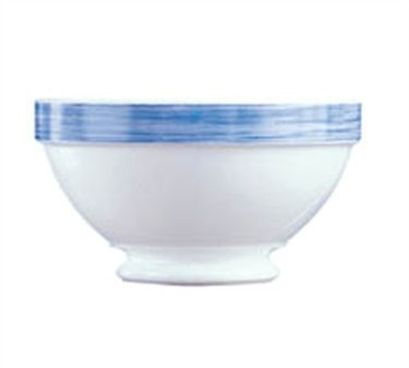 Fully Tempered 17-1/4 Oz. Arcoroc White Glass Bowl With Brushed Blue Band - 5-1/8