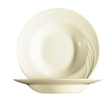 Fully Tempered 23 Oz. Cypress Bone White Glass Rim Soup Plate - 9