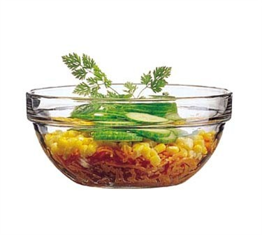 Fully Tempered 39 Oz. Stacking Glass Bowl - 6-5/8