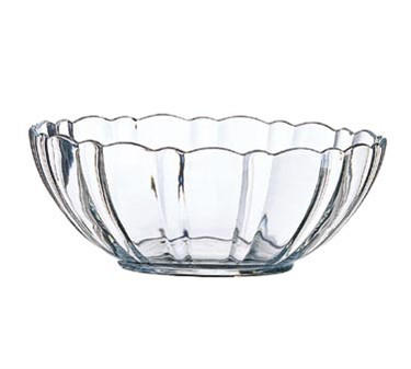 Fully Tempered 48 Oz. Stacking Arcade Glass Bowl With Ridged Edges - 8