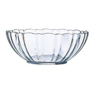 Fully Tempered 72 Oz. Stacking Glass Arcade Bowl With Ridged Edges - 9