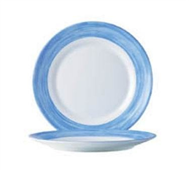 Fully Tempered Arcoroc White Glass Plate With Brushed Blue Band - 10