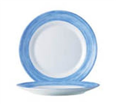 "Cardinal 49150 Arcoroc White with Brushed Blue Band Glass Plate 7-1/2"" Dia."