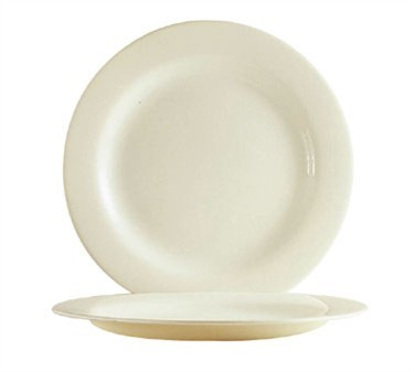 Fully Tempered Reception Bone White Glass Plate - 10-5/8