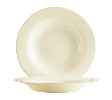 Fully Tempered Reception Bone White 15 Oz. Glass Rim Soup Plate - 8-5/8