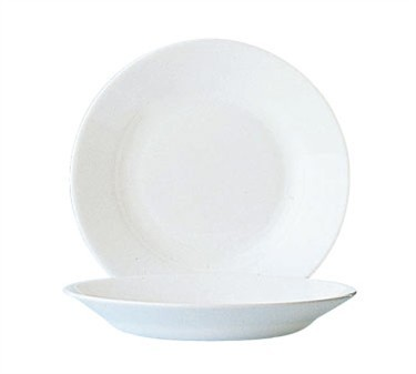Fully Tempered Restaurant White 24 Oz. Glass Rim Soup Plate - 9